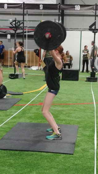 Teen crossfit girls at crossfit competition